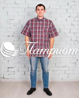 Рубашка мужская шотландка короткий рукав